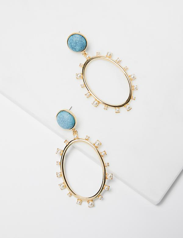 Pearlescent-Embellished Oval Drop Earrings