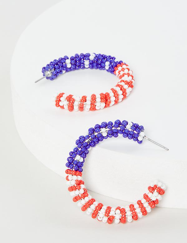 Beaded Americana Hoop Earrings