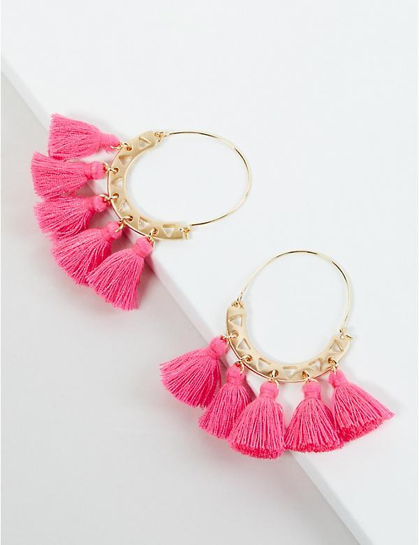 Pink Tassel Wire Earrings