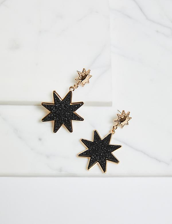 Faux-Druzy Starburst Drop Earrings - Black