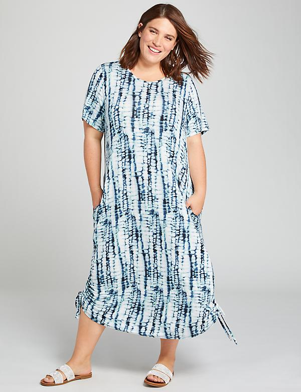 Ruched-Side Tie-Dye Maxi Dress