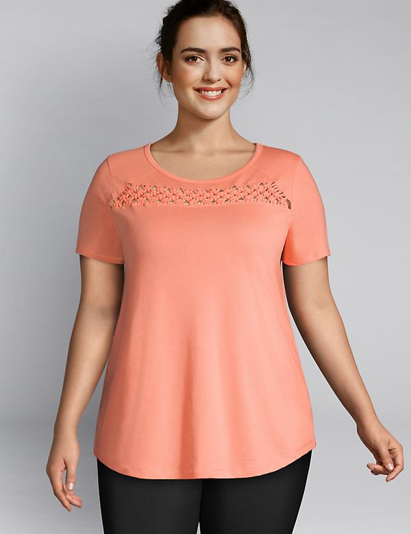 LIVI High-Neck Tee - Macrame Inset