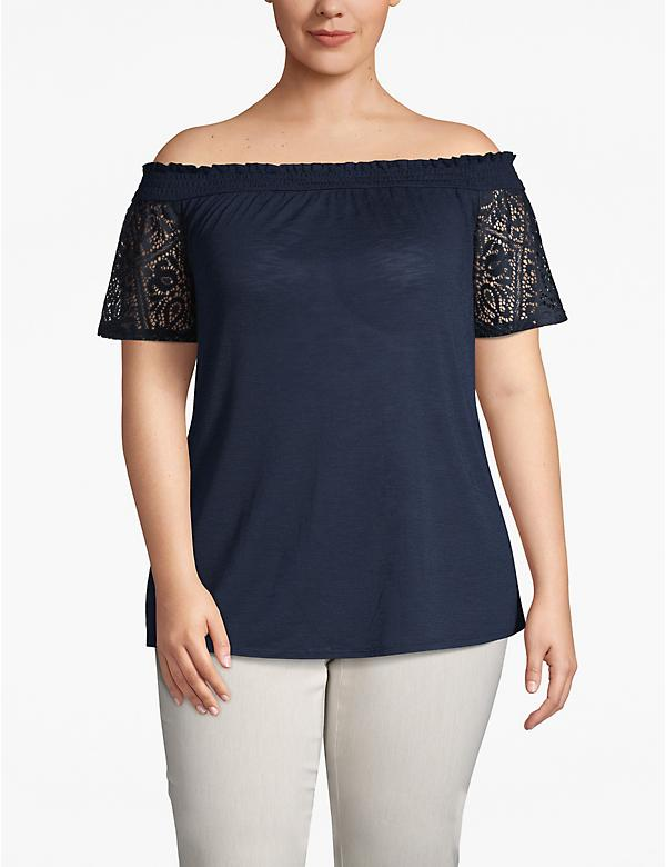 Lace-Sleeve Convertible Neckline Top