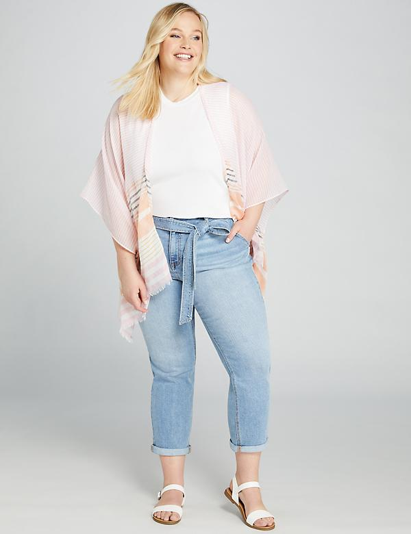 High-Rise Straight Crop Jean - Belted Light Wash