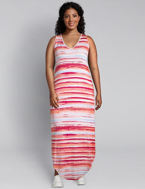LIVI Macrame Racerback Maxi Dress