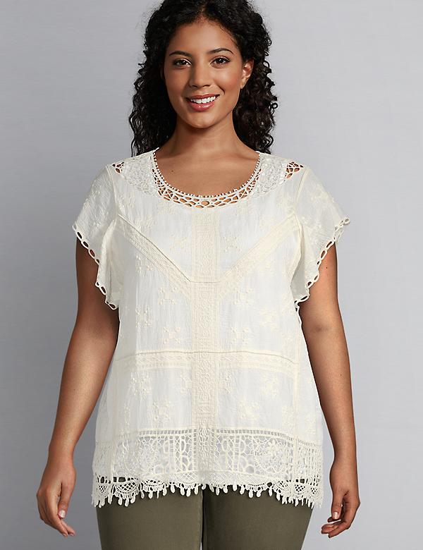 Short-Sleeve Embroidered Peasant Top