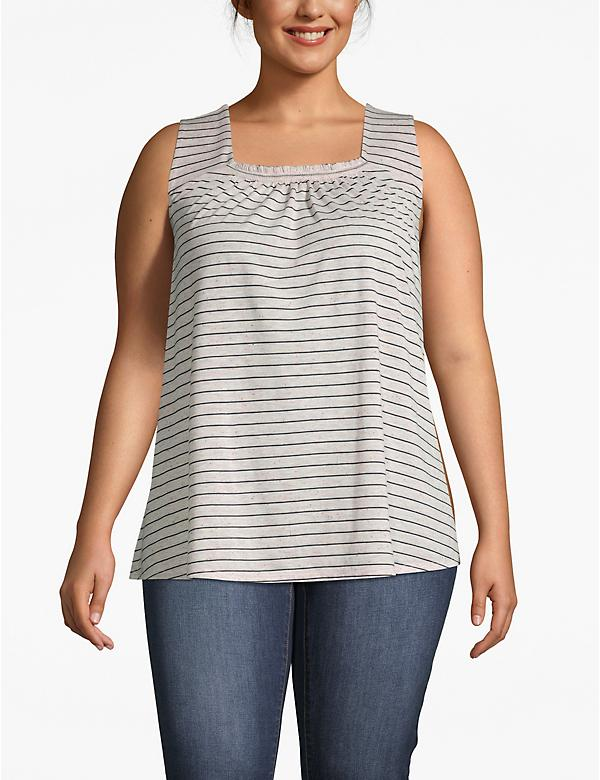 Striped Shirred-Neck Tank