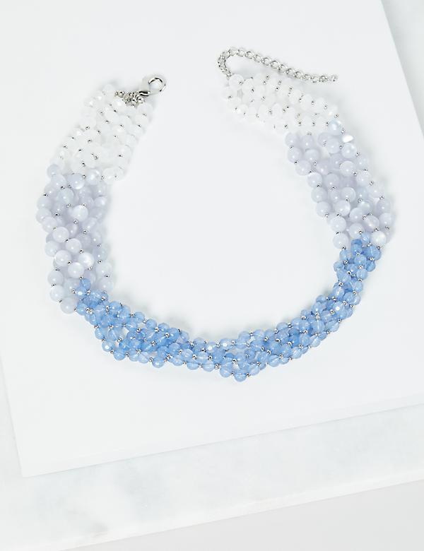 Multi-Layer Ombre Beaded Necklace - Blue