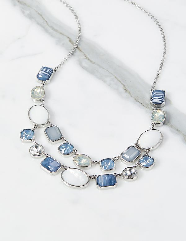 Layered Beaded Statement Necklace - Blue