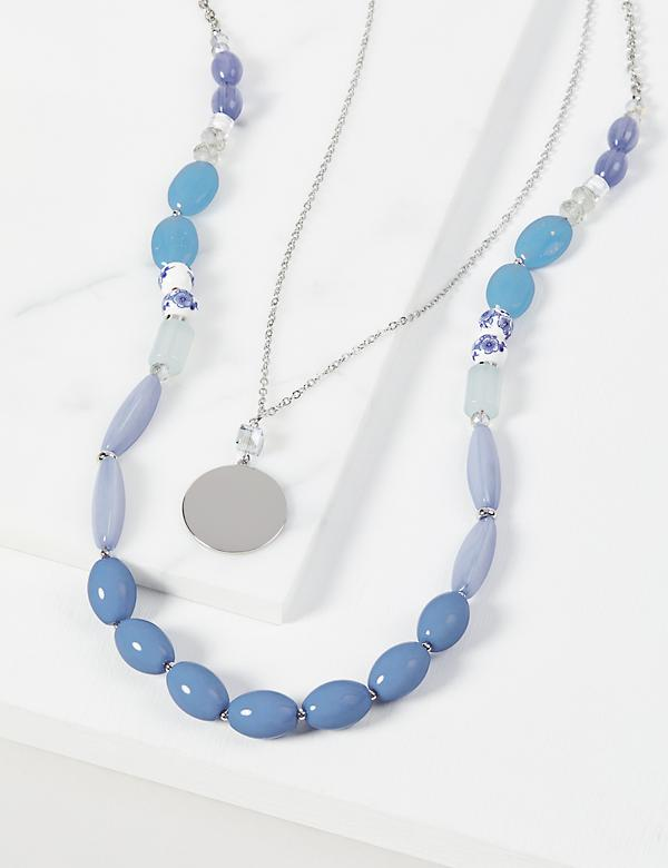 Layered Disc & Beads Necklace