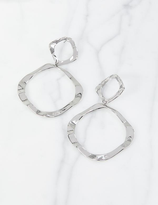 Hammered Double-Circle Drop Earrings