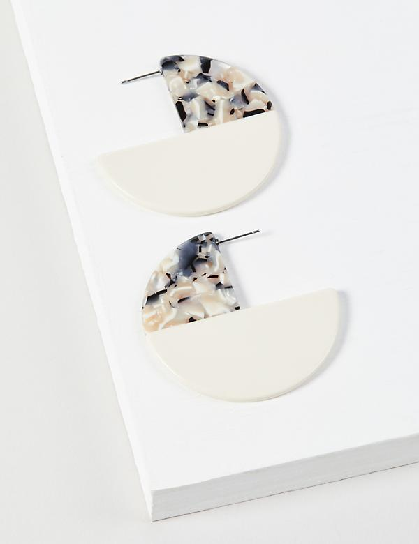 Colorblock Tortoise-Print Disc Earrings