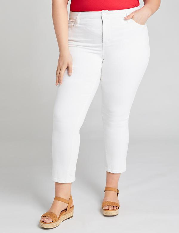 High-Rise Straight Crop Jean - White