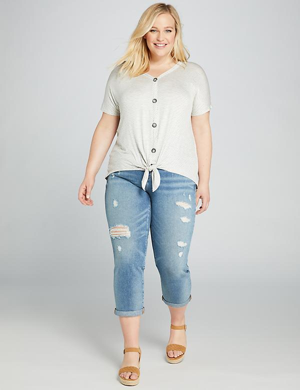 Signature Fit Girlfriend Crop Jean - Medium Wash With Destruction