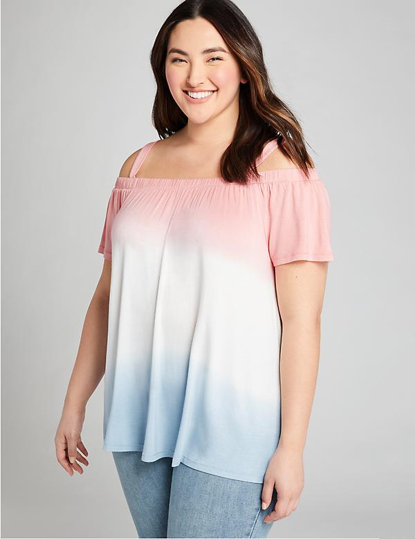 Dip-Dye Cold-Shoulder Swing Top