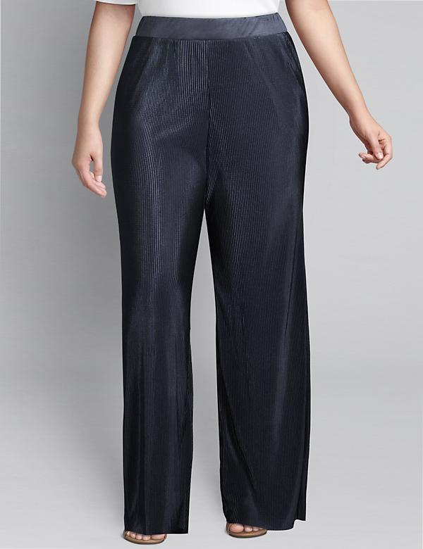 Pull-On Wide Leg Pant - Pleated Texture