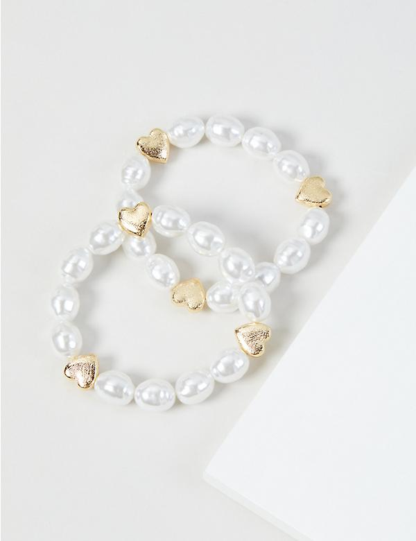 2-Row Pearlescent Heart Stretch Bracelet Set