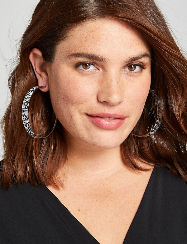 Sparkling Leopard-Print Hoop Earrings