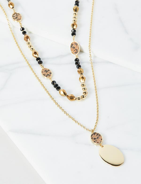 Layered Beaded & Pendant Necklace