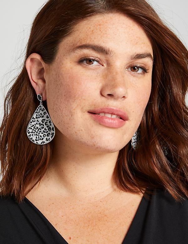 Sparkling Leopard-Print Teardrop Earrings