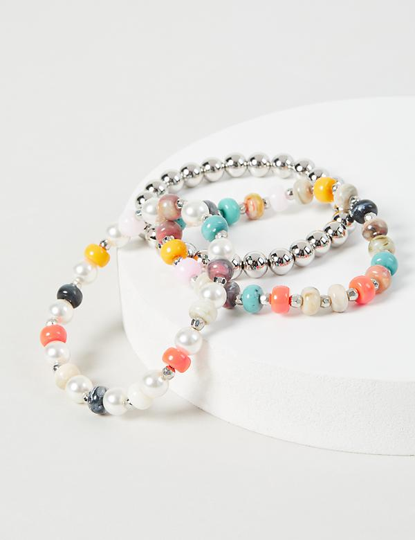 3 Row Pearlescent and Beaded Bracelet Set