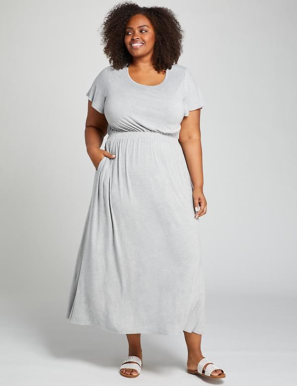 Heathered Short-Sleeve Maxi Dress