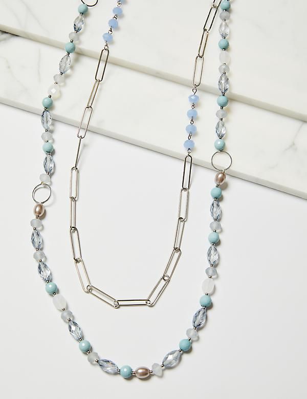 Layered Bead & Chain Necklace - Blue