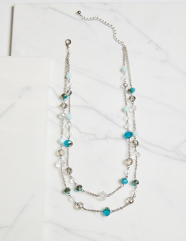 Layered Placed-Bead Necklace - Blue
