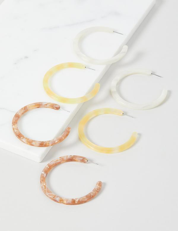 Resin Hoop Earrings - 3-Pack