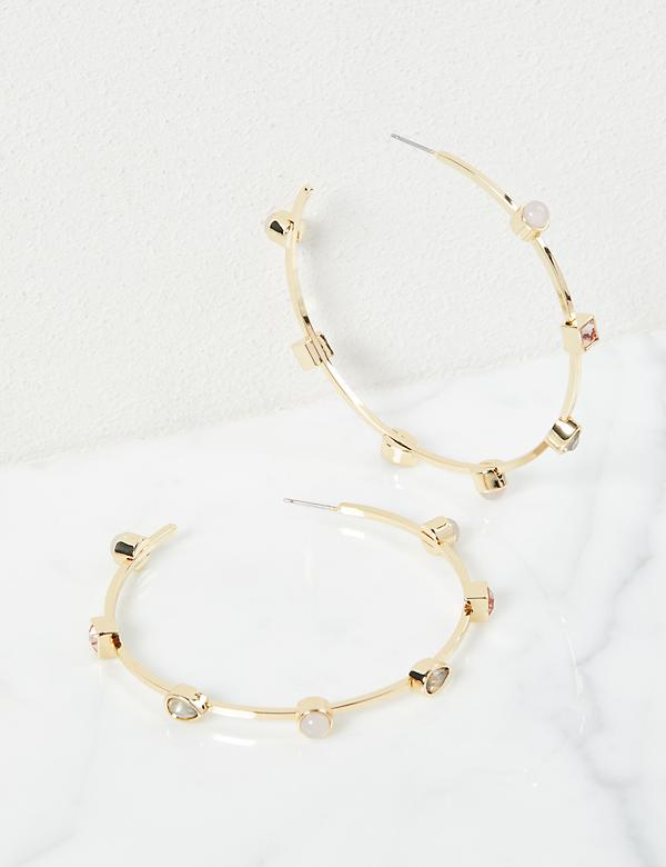 Faceted Stone Hoop Earrings