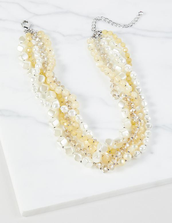 Multi-Layered Beaded Statement Necklace - Yellow