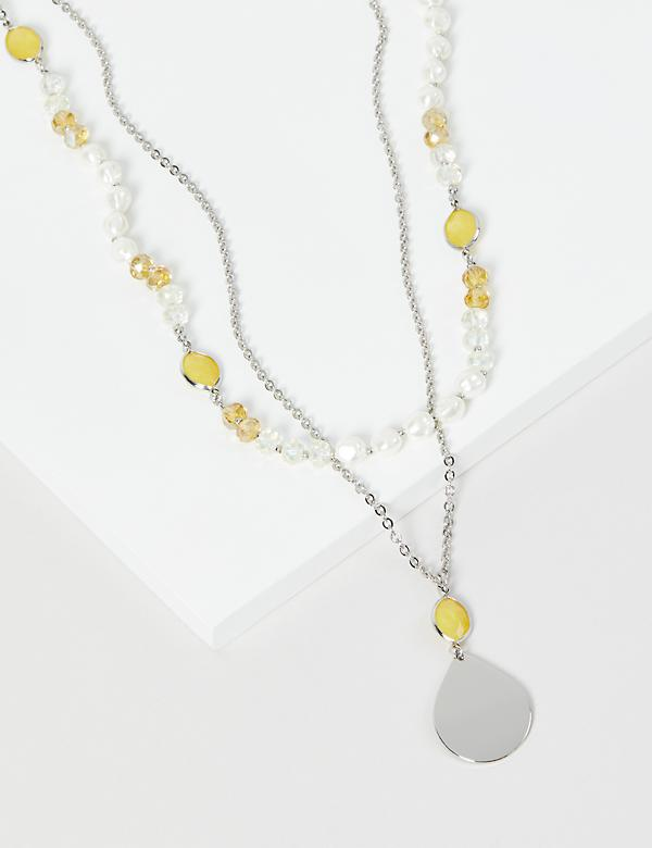 Layered Pearlescent Pendant Necklace - Yellow