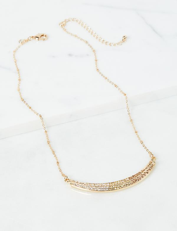 Pave Bar Necklace - Yellow