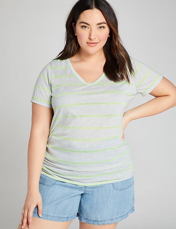 Neon-Striped Ruched-Side Tee