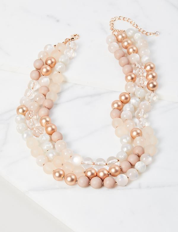 Multi-Layer Beaded Necklace - Rose Goldtone