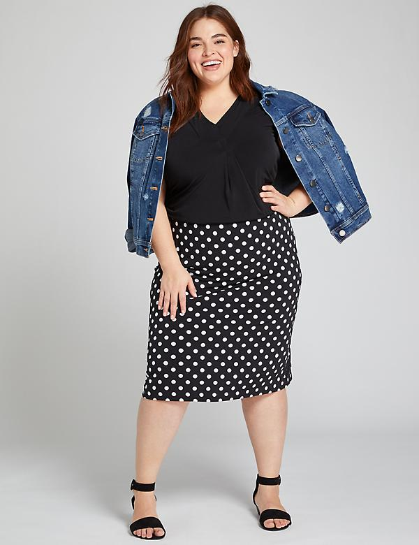 Polka Dot Pull-On Skirt