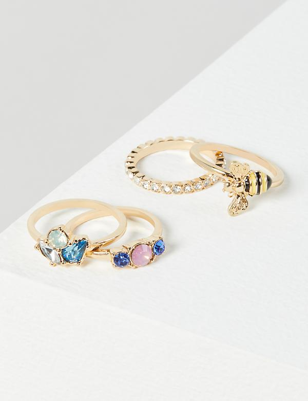 Pave Stone & Bumblebee Rings 4-Pack