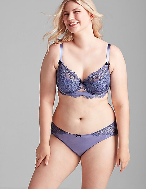 Cross-Dyed Lace Lightly Lined French Balconette Bra