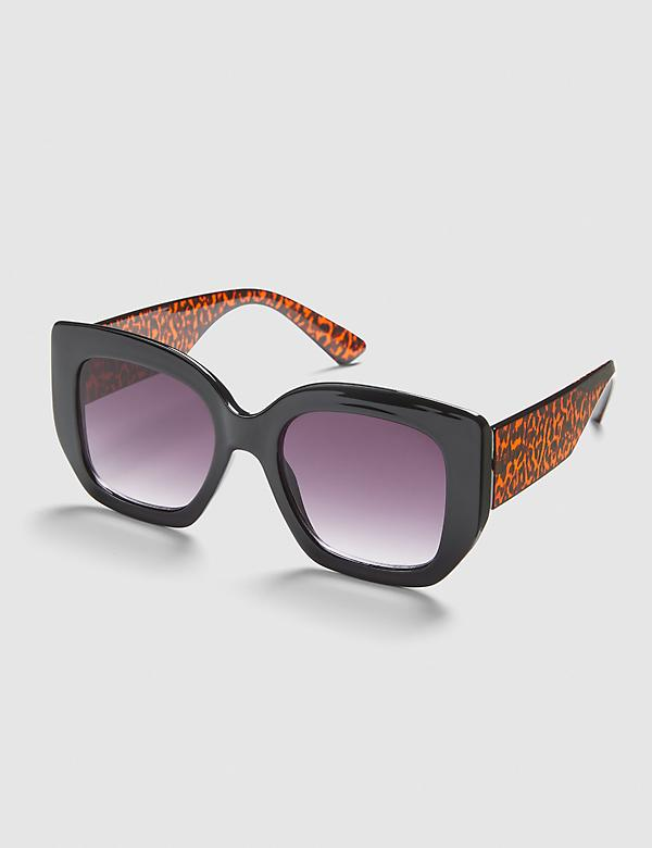 Black & Leopard Print Square Sunglasses
