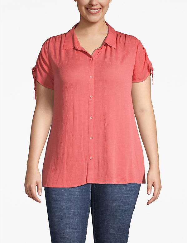 Ruched-Shoulder Button-Front Top