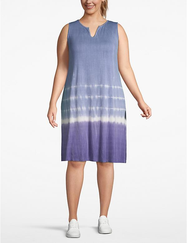 Tie-Dye Notch-Neck Swing Dress