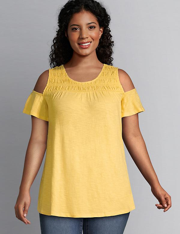 Shirred Cold-Shoulder Swing Tee