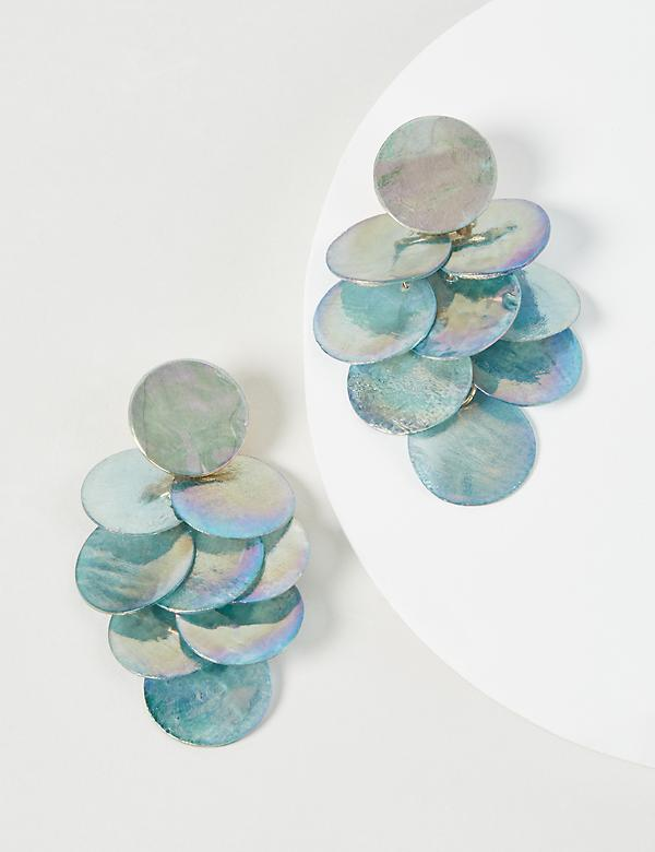 Blue Disc Drop Earrings