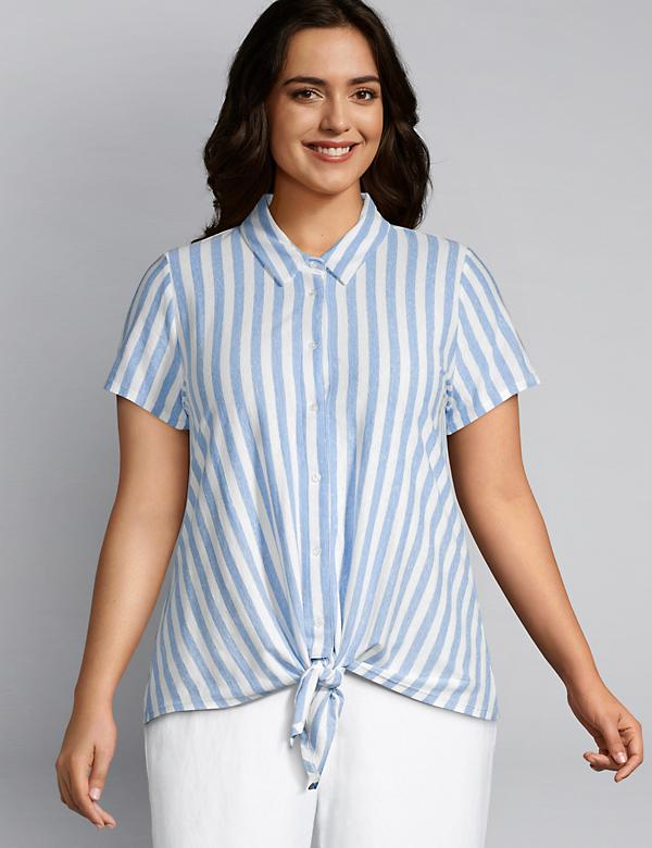 Striped Button-Front Tie-Front Top