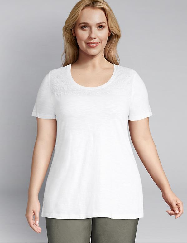 Embroidered-Yoke Swing Tee