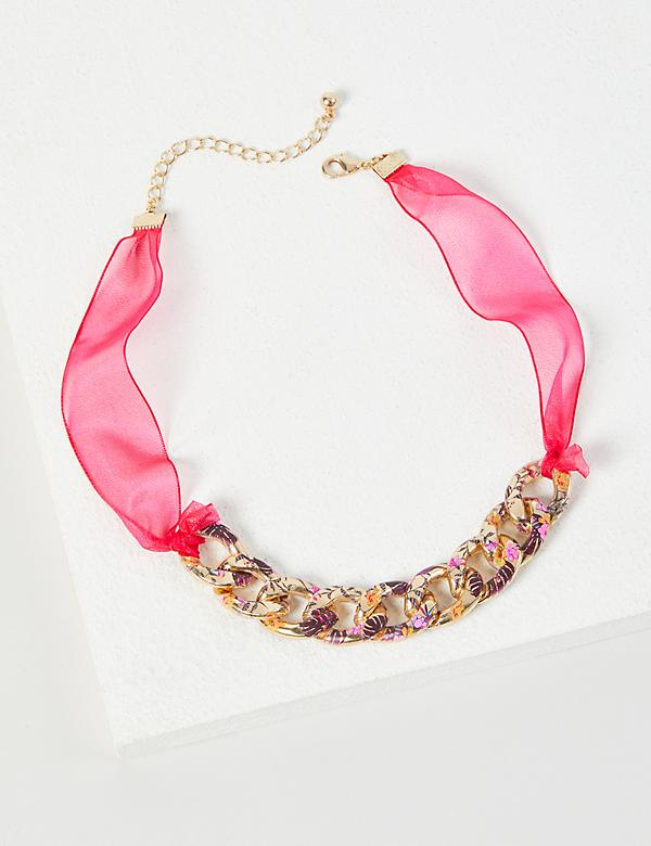 Floral Imprint Chain-Link Necklace
