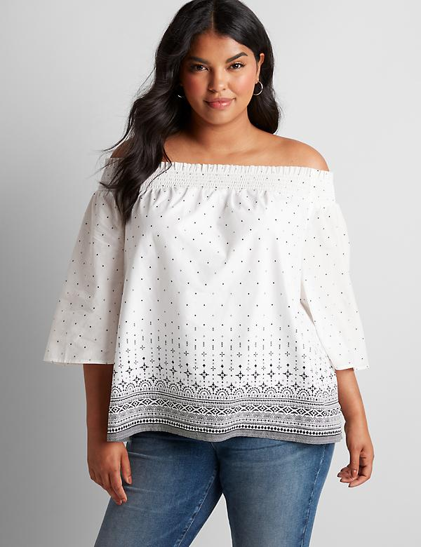 Printed Border Off-The-Shoulder Top