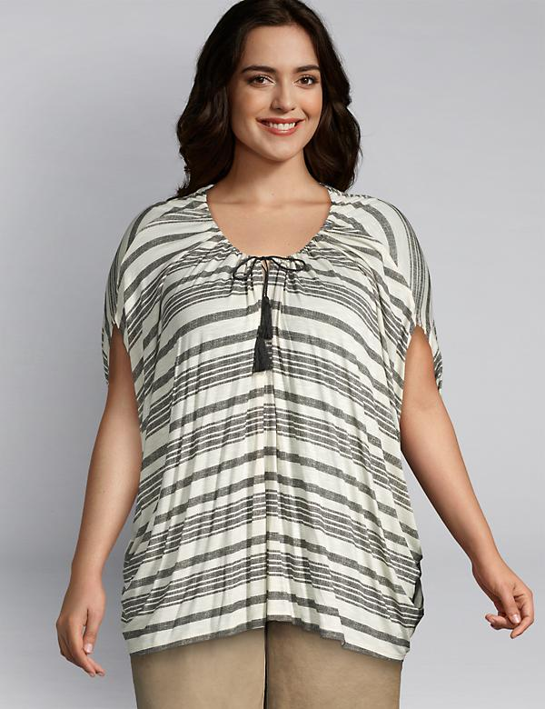 Striped Dolman-Sleeve Top