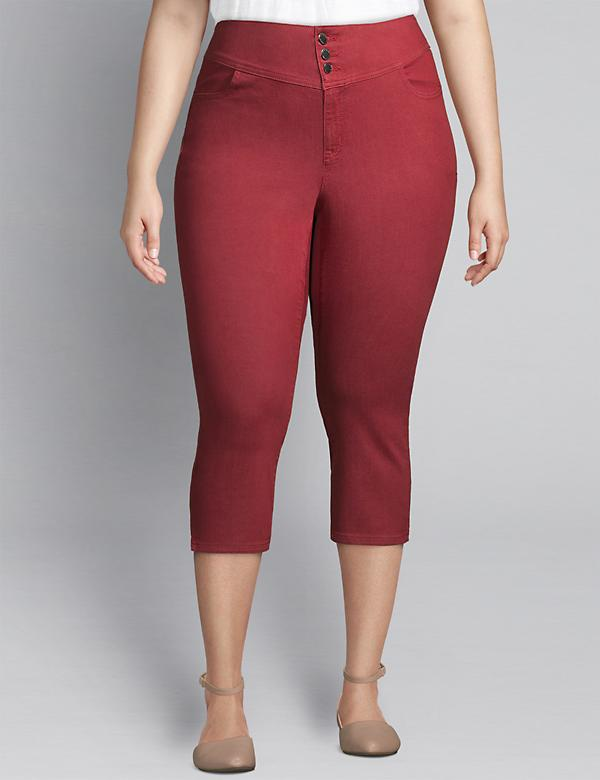 High-Rise 3-Button Pedal Jegging - Red