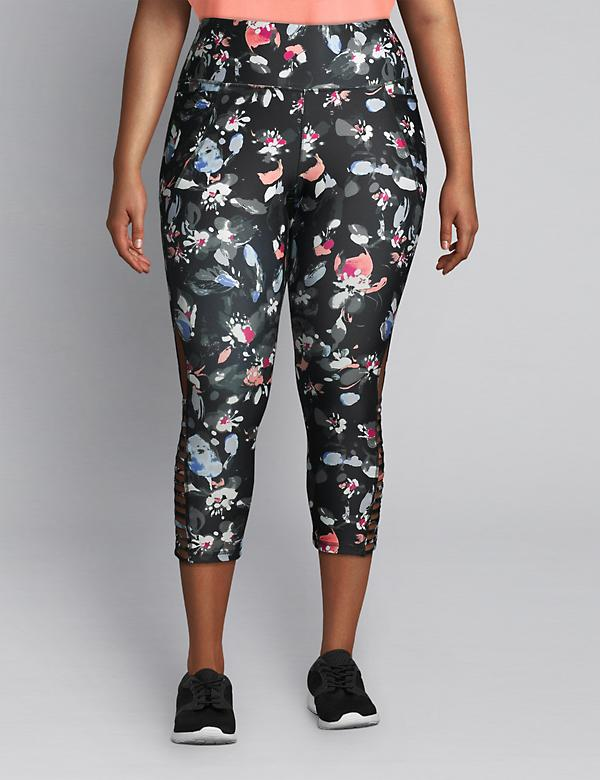 LIVI Capri Power Legging - Floral With Strappy Hem